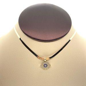 10kt gold herringbone & evil eye pendant